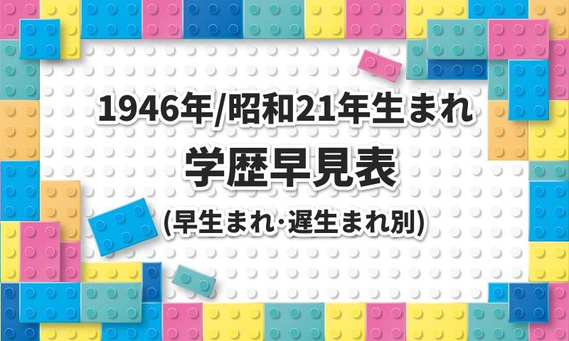 1946年/昭和21年生まれの学歴早見表 早生まれと遅生まれ別