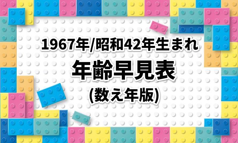 1967年/昭和42年生まれの年齢・西暦・和暦・干支早見表|数え年