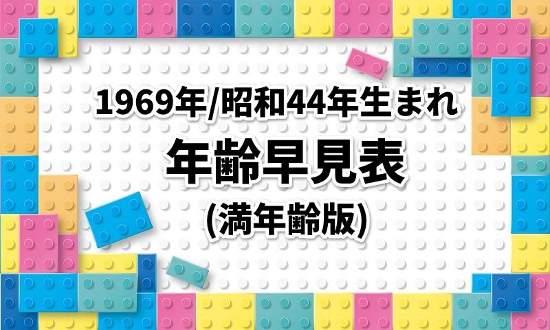 1969年/昭和44年生まれの年齢・西暦・和暦・干支早見表|満年齢